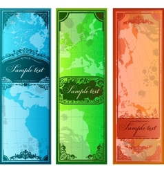 Set of three colorful bookmarks with map vector image vector image