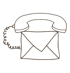 Silhouette envelope with handset and cord vector