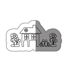 sticker of monochrome contour of family away from vector image