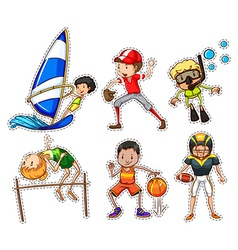 Sticker set with people doing sports vector image