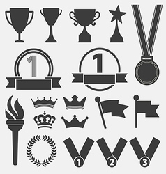 Trophy and awards icons set vector image vector image