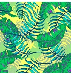 Tropical flowers and palm vector
