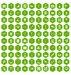 100 disabled healthcare icons hexagon green vector image