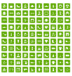 100 stylist icons set grunge green vector