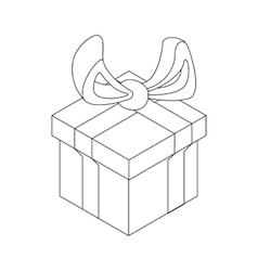 Gift box with ribbon bow icon outline style vector