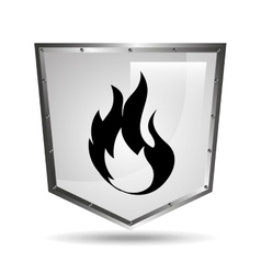 Symbol fire icon shield steel design vector