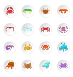 Colorful crab icons set vector