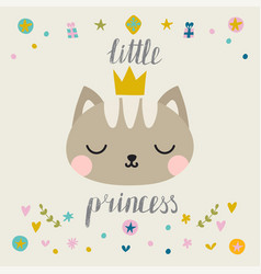Little princess cute little cat with crown vector