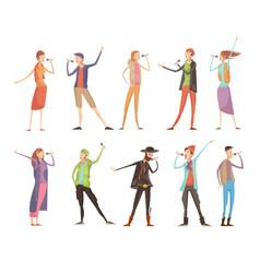 Singing people karaoke set vector