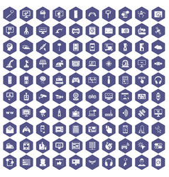 100 software icons hexagon purple vector