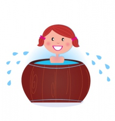 Woman in cold barrel vector