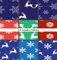 Seamless christmas patterns set vector