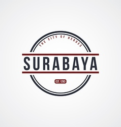 Surabaya badge indonesia label theme vector
