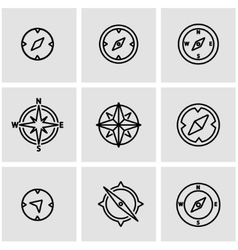 Line compass icon set vector
