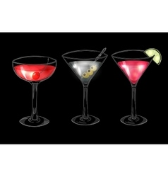 Set of hand drawn alcoholic cocktails on dark vector