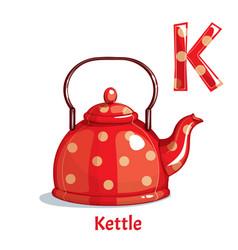 alphabet letter k kettle vector image