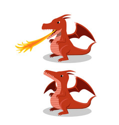 Angry red dragon with fire breath cartoon vector
