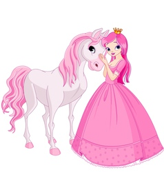 beautiful princess and her cute horse vector image