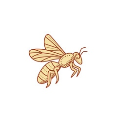 Bee flying mono line vector