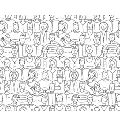 Black and White People Throng Seamless Background vector image vector image