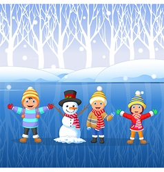 Cartoon kids playing on snow in winter time vector