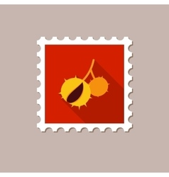 Chestnut flat stamp with long shadow vector image