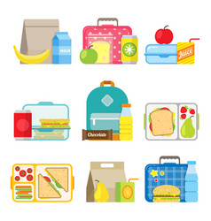 Childrens school lunch box icon in flat style vector
