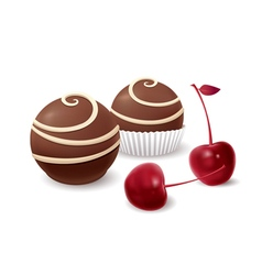 Chocolate candy and cherry vector