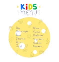 Colorful kids meal menu design template vector