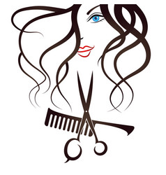 face girl scissors and comb vector image vector image