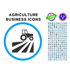 Farm field with tractor rounded icon with set vector