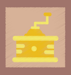Flat shading style icon coffee mill vector