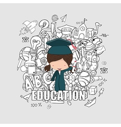 Girl graduated pupils back of school background vector