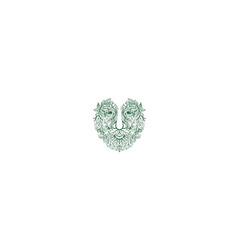 Green man head front mandala vector