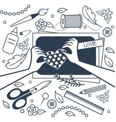 Handmade crafts workshop art fair vector