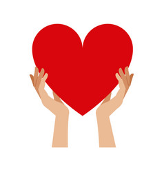 Hands holding heart blood donation vector