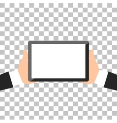 Hands holing tablet vector