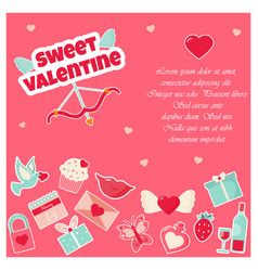 holiday card with elements for valentines day vector image vector image