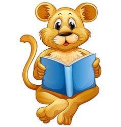 Lion cub reading blue book vector image vector image
