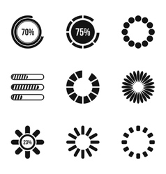 Loading and waiting icons set simple style vector