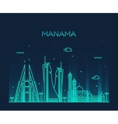 Manama skyline silhouette linear style vector image