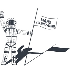 Mars colonization astronaut on the planet vector