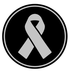 Mourning ribbon black coin vector
