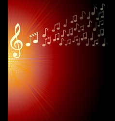 musical background with treble clef and and notes vector image