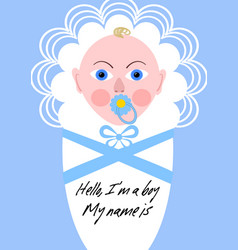 New born boy announcement baby in blue design vector