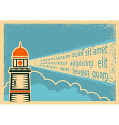 Poster with lighthouse vector