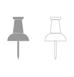 Push pin the grey set icon vector