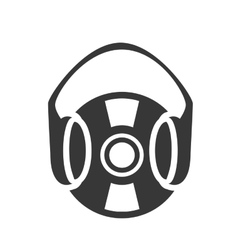 Retro vinyl with headset vector