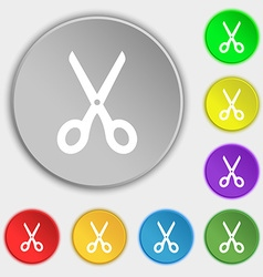 Scissors icon sign Symbol on eight flat buttons vector image vector image