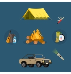 Set of camping equipment symbols icons vector image vector image